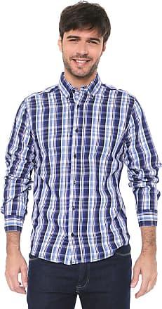 Malwee Camisa Malwee Slim Xadrez Azul/Branco