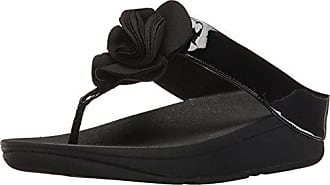 FitFlop Womens Florrie Toe-Thong Sandal, Black Patent, 5 M US