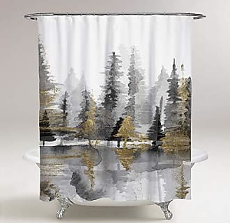 The Oliver Gal Artist Co. The Oliver Gal Artist Co. Oliver Gal Golden Reflection III Gold, Gray Decorative Shower Curtain 71 x 74