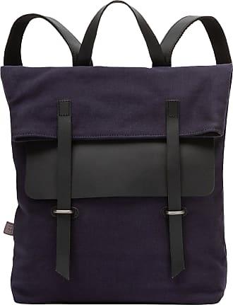 DuDu Grand sac à dos en toile et cuir pour ordinateur portable avec fermeture magnétique et bretelles réglables Bleu foncé