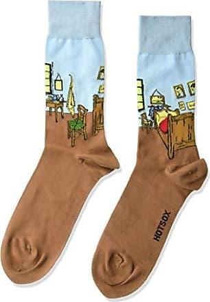 Hot Sox Mens Conversation Starter Novelty Casual Crew Socks, Bedroom In ARLES (Light Blue), Shoe Size: 6-12