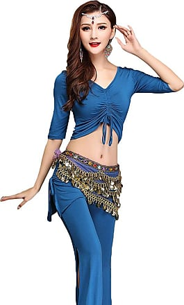 YiJee Women Belly Dance Tops Pants Belly Dancing Costume with Hip Scarf Blue M