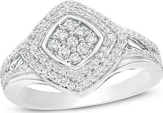 d79a82216 T.w. Composite Diamond Tilted Double Cushion Frame Ring in Sterling