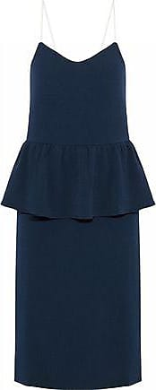 Ganni Ganni Woman Crepe Peplum Dress Navy Size 34