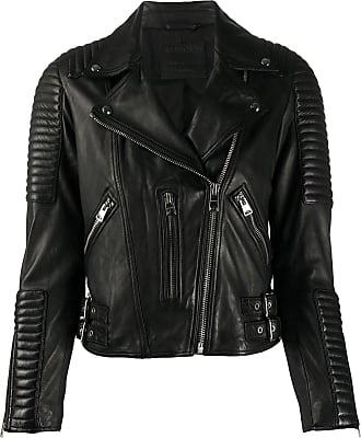 Allsaints Estella ribbed biker jacket - Preto