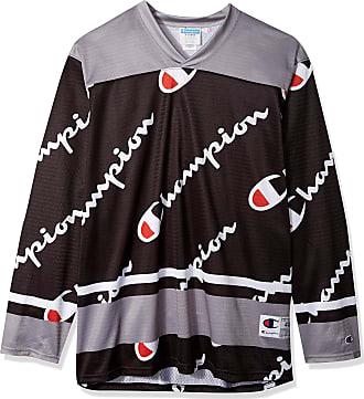 Champion Life Mens Hockey Jersey Shirt, Black AOP Script, Medium