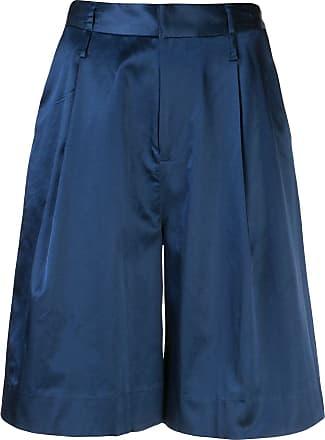 Staud Short de cetim com pregas - Azul