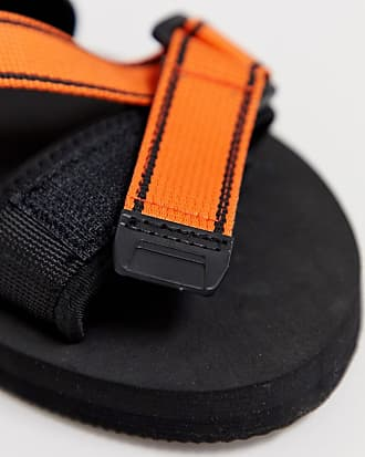 3d6922db9 Asos tech sandals in black with orange tape straps - Black