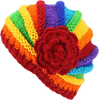 Loud Elephant Ladies Chunky Wool Knit Shell Shaped Beanie Hat with Side Flower - Rainbow
