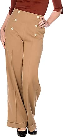 Banned Retro Adventures Ahead 40s Swing Wide Leg Trousers - UK 10 (S) / Brown