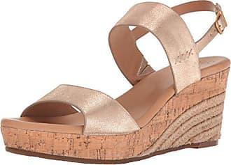 UGG Womens Elena Metallic Wedge Sandal, Gold, 11 US/11 B US