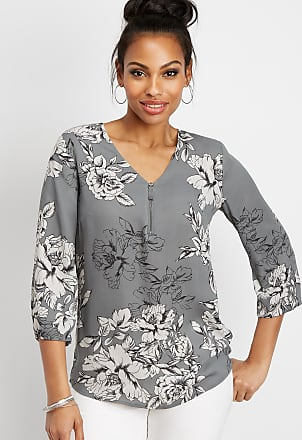db3d9e0031e4 Maurices Floral Zip Front Popover Tunic Blouse