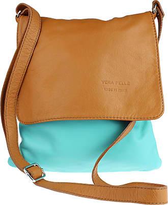 Girly HandBags Girly HandBags Genuine Soft Leather Italian Cross Body Shoulder Bag Flap Zipper - Turquoise Light Tan