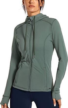 CRZ YOGA Womens Matte Brushed Full Zip Hoodie Jacket Sportswear Hooded Workout Jacket with Zip Pockets Grey Sage 14