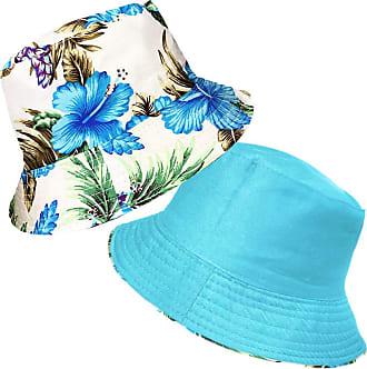 TOSKATOK UPF 50+ Ladies Womens Reversible Cotton Retro Floral Bush Bucket Sun Hat Blue
