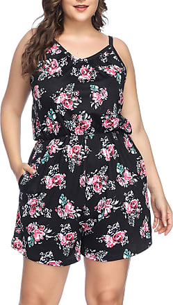 FeelinGirl Womens Plus Size Floral Jumpsuits Sleeveless Short Beach Romper Playsuit Black XL