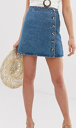 Asos Tall ASOS DESIGN Tall denim wrap skirt with buttons in midwash blue