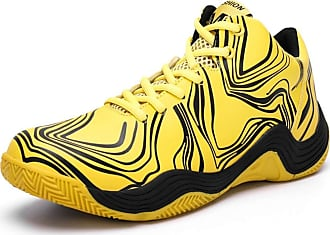 LanFengeu Men Casual Sneakers Platform Round Toe Breathable Running Trainers Male Shock Absorbing Non Slip Basketball Shoes Yellow