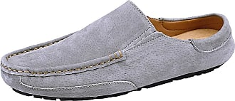 Jamron Mens Comfortable Suede Carpet Slippers Mules Driving Loafers Moccasins Grey SN19058 UK9