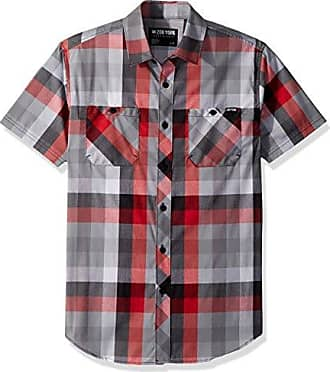 Zoo York Mens Short Sleeve Woven, Mercury fire red, Small