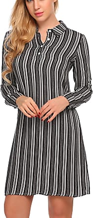 Zeagoo Womens Casual Long Sleeve Striped Button Neck Polo Shirt Dress Tops Black