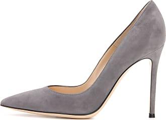 EDEFS Womens Pointed Toe Court Shoes Slip On Elegant Pumps Formal Dress Shoes Grey Size EU39