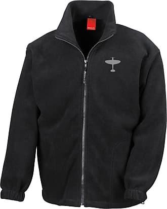 Military Online Submarine Spitfire Fighter RAF WW2 Embroidered Logo - Full Zip Heavyweight Fleece Jacket Black