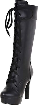 RAZAMAZA Women Fashion High Heels Half High Boots Platform Mid Calf Boots Lace Up Biker Boots Party Black Size 37 Asian