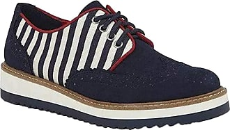 Ruby Shoo Womens Navy Stripe Davina Lace Up Loafer Shoes UK 5