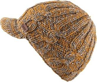 KuSan 100% Wool Cable Knit Brooklyn Peaked Cap PK1937 (Caramel)