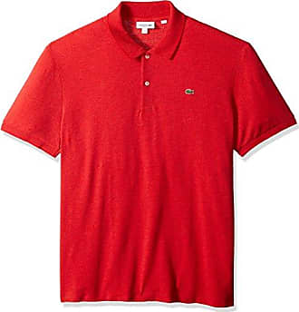 7bd9f5339c Lacoste Mens Short Sleeve Solid Textured Slub Pique Regular Fit Polo,  PH3160, Toreador 4X
