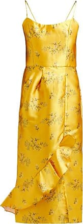 Johanna Ortiz Escape With Me Floral-print Satin Dress - Womens - Yellow