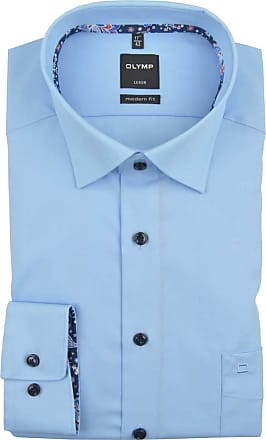 Olymp Luxor, modern fit, Under-Button-down, Azure - Blue - 16