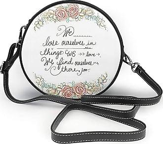 Turfed Light Flower Shape Print Round Crossbody Bags Women Shoulder Bag Adjustable PU Leather Chain Strap and Top Zipper Small Handbag Handle Tote