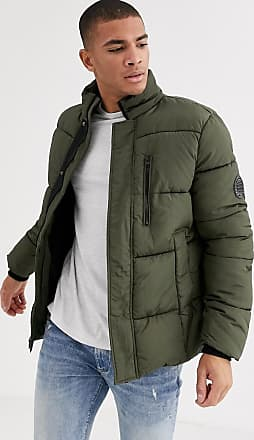 Burton Menswear puffer jacket in khaki-Green