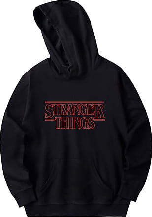 EmilyLe Womens Graphic Printed Hoodie Stranger Things Inspired Pullover Long Sleeve Jumper for Boys and Girls (XXS, Black)