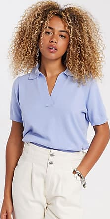 Object knitted top with collar in blue