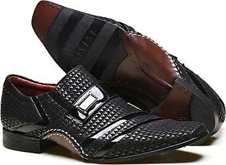 Calvest Sapato Social em Couro com Textura Piastra e Detalhes em Verniz - 1930C865 Preto - 37