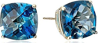 Amazon Collection 14k Yellow Gold Cushion-Cut Checkerboard London Blue Topaz Stud Earrings (8mm)
