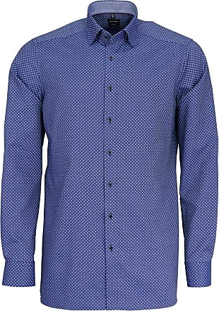 Olymp Luxor Modern Fit Diamond Detail Long Sleeve Shirt - Marine 16.5 (42cm) Marine