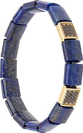 Nialaya CZ lapis lazuli flat bead bracelet - Blue
