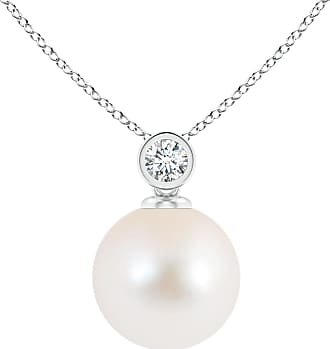 Angara Valentine Day Sale - Freshwater Cultured Pearl Pendant with Bezel Diamond