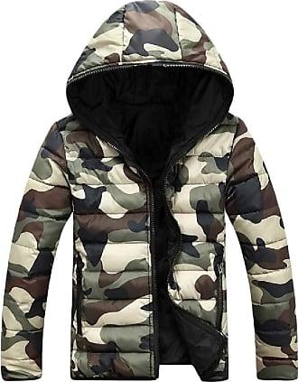 H&E Men Puffer Hooded Camo Winter Zipper Front Down Parkas Coats Jacket Army Green Small