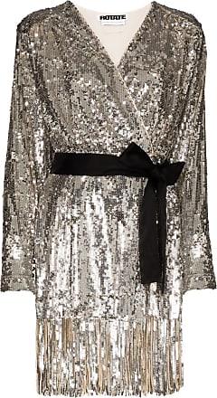 Rotate Vestido mini Samantha com cinto e paetês - Prateado