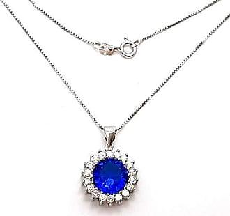 Boreale Joias Corrente Prata 925 Pingente Zircônia Azul Safira 50cm