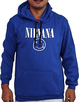 Atelier do Silk Agasalho Moletom Flanelado Capuz Unissex Banda Nirvana Cor:Azul;Tamanho:GG