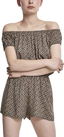 Urban Classics Womens Ladies Off Shoulder Short Jumpsuit, Multicolour (Blackflower 01709), Large