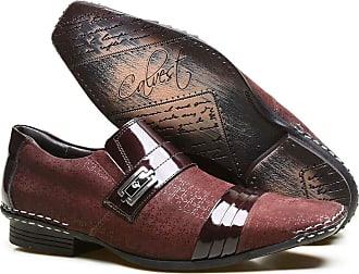 Calvest Sapato Social Masculino Calvest BORDO Costura Manual e Verniz B - 1750B475-44
