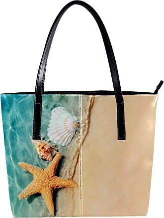 Nananma Womens Bag Shoulder Tote handbag with Starfish And Seashell On The Summer Beach Pattern Zipper Purse PU Leather Top-handle Zip Bags