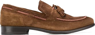 Eleventy piping detailed suede loafers - Brown
